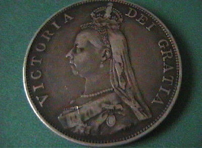 Double Florin 1888 Queen Victoria Jubilee Head 22.2g of Sterling Silver .925 EF.