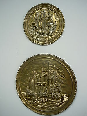 Vintage Brass Nautical Clipper Ship Wall Plate Chargers England Old Plaque Nice