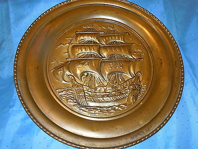 Vintage Large Brass Nautical Clipper Ship Wall Plate Charger England Old Plaque