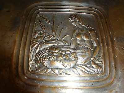 Antique Art Deco Woman Serving Tray Platter Silver Plate Over Brass Vintage