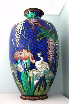 Japanese Cloisonne Ginbari Vase with Cranes & Wisteria & Irises VERY LARGE 18""