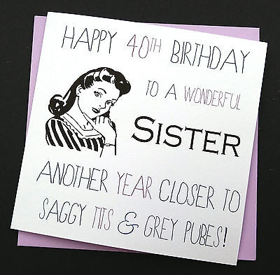 Funny Rude Retro Birthday Card Sister Friend Auntie Naughty