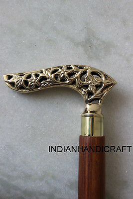 Vintage Stick in Solid Brass Finish Wood Walking Stick Cane Replica