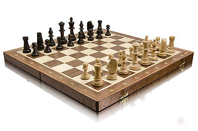 "WALNUT ""TOURNAMENT No 5"" PROFESSIONAL WOODEN CHESS SET - WEIGHTED STAUNTON !!!"