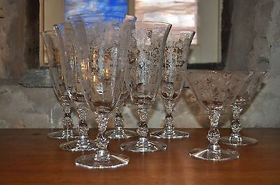 6 Ice Tea Tumblers  & 2 Low Sherbets - Cambridge Rose Point Clear -  8 total