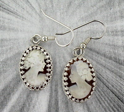 VINTAGE ANTIQUE SHELL CAMEO EARRINGS ITALY  .925 STERLING SILVER SETTINGS