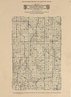 1931 EAU CLAIRE COUNTY plat map WISCONSIN GENEALOGY history Atlas Land P159