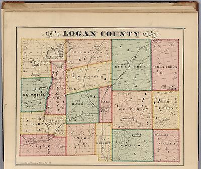 LOGAN COUNTY OHIO state HISTORY 1875 maps old GENEALOGY Atlas LAND OWNER DVD P15