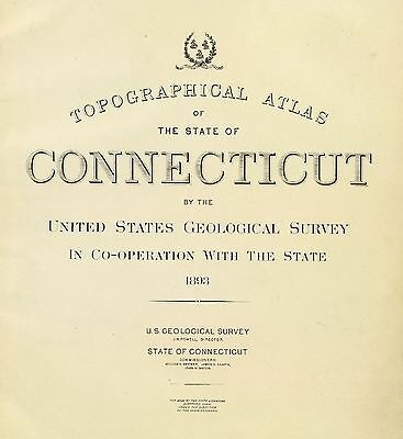 CONNECTICUT STATE ATLAS 1893 maps old topographical GHOST TOWNS DVD S5