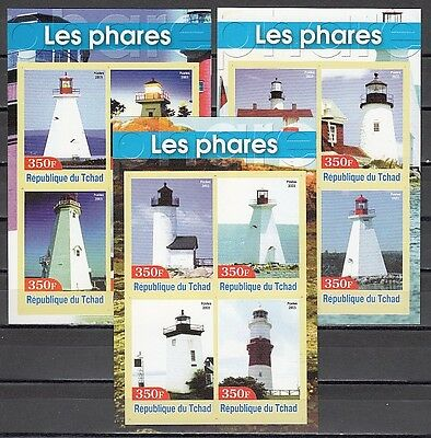 / Chad, 2003 issue. Lighthouses on 3 IMPERF s/sheets.