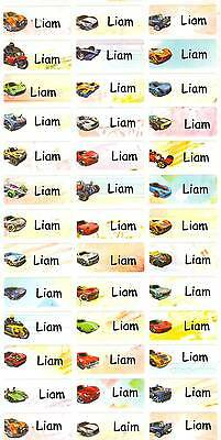 Personalized Name labels Waterproof stickers, 36 Hot Wheels , day care, school