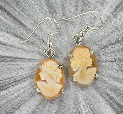 Vintage Antique Shell Cameo Earrings --In .925 Sterling Silver Settings