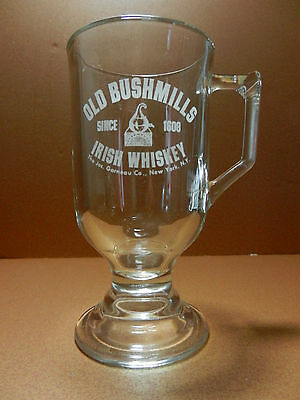 Old Bushmills Irish Whiskey Etched Pedestal Mug
