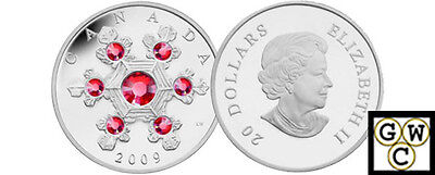 2009 Pink Crystal Snowflake Proof $20 Silver .9999 Fine (NT) (12572)