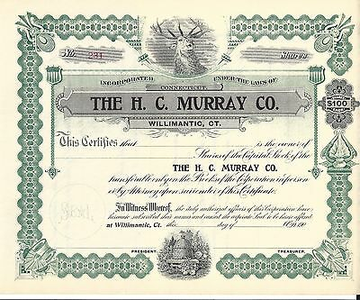 The H.c. Murray Co. (Willimantic, Ct).....early 1900's Unissued Stock Certificat