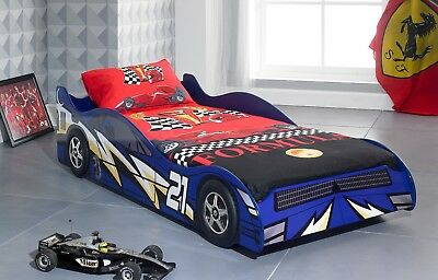 New NO 21 3'0 Single Blue Children Kids Boys Car Racing Bed