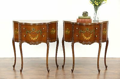 Pair French Style 1920's Vintage Nightstands, End Tables Hand Painted Satinwood