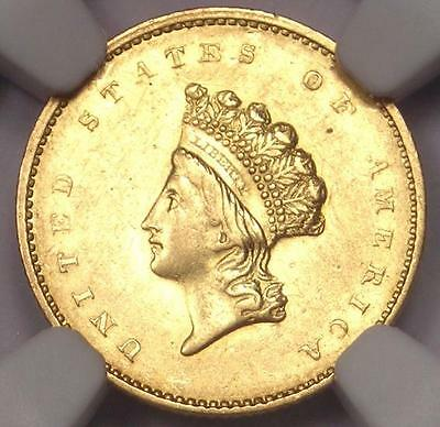 1855 Type 2 Indian Gold Dollar (G$1 Coin) - Certified NGC AU Details - Rare Date