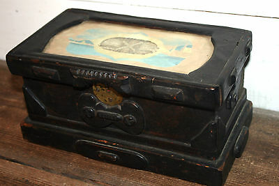 Antique Nautical Folk Art Sailor's Ditty Trinket Box Chest Hand Carved Wood Rare