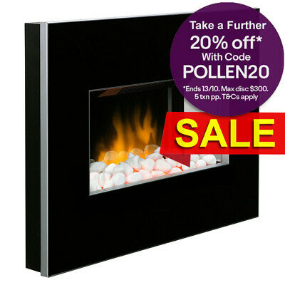 Dimplex Clova Black Electric Fireplace Panel Heater/Flame Optiflame Pebble Stone
