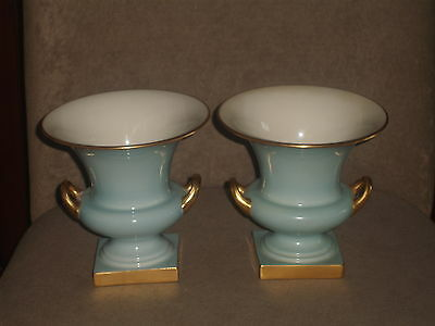 Rare Vintage Pair Lenox  Aqua Blue Vases Gold Handles Trim & Base Old Blue Mark