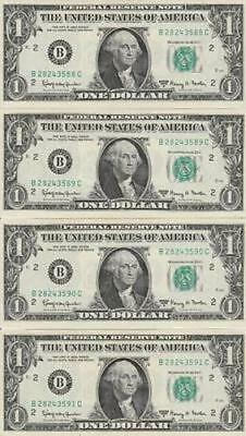 1963 A 8 Consecutive $1 New York Federal Reserve Notes CRISP NICE