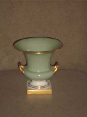 Vintage Lenox  Celadon Green Vase With Gold Handles, Trim And Base Old Blue Mark