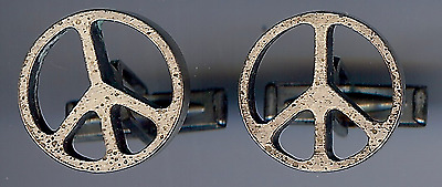 Vintage Fithian Sterling Peace Sign Cufflinks