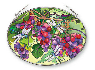 DRAGONFLY Grapes Suncatcher Hand Painted Glass AMIA Large Oval New