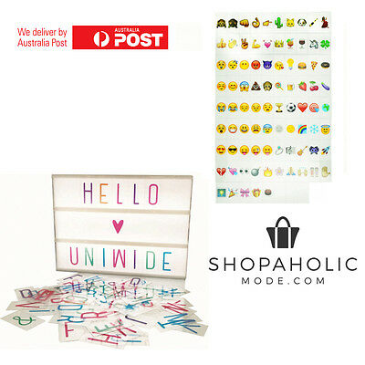 Colour Letter & Emoji Pack for Light box Display Sign Board 85 Pack fits Kmart