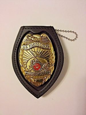 Badge Holder Genuine Leather Recessed Heart Badges Sheriff, CCW, Police, CWP