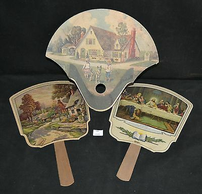 ThriftCHI ~ Vintage Advertising Paper Fans (3) - 2 Home Scenes 1 Last Supper