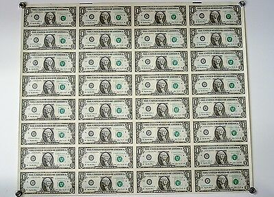 Uncut Sheet Of 32 One Dollar Bills Of 1995 Federal Reserve Notes