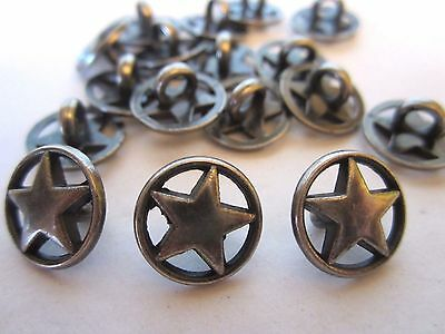 """1/2""""  *** ROUND WHEEL - STAR*** Metal Buttons (12 pc)  OLD SILVER -PEWTER TONE"""