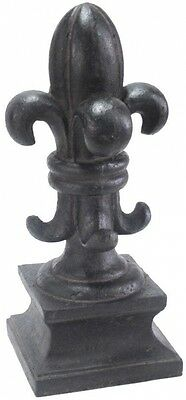 Fleur de Lis Finial in Black Charcoal Finish Cast Stone Plated Graphite Handmade