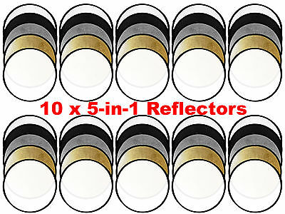 "Collapsible Photo Light Reflector 43"" 80cm Gold Silver 5 in1 Diffuser Round"