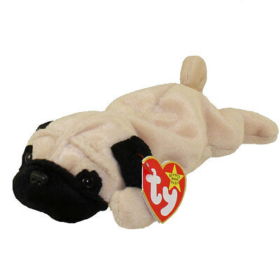 TY Beanie Baby - PUGSLY the Pug Dog (8 inch) - MWMTs Stuffed Animal Toy