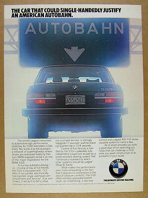 1984 BMW 533i car Autobahn road sign photo vintage print Ad