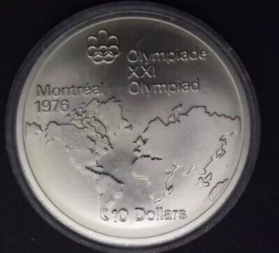 Queen Elizabeth Canadian 1976 Montreal Olympiad XXI $10 Silver Coin w/case 1974
