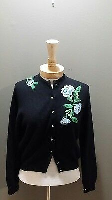 Vintage 1950's Connaught Black 100% Cashmere Sweater Beaded Applique Boho Chic S