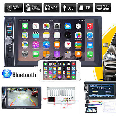 Double 2DIN Bluetooth Touch Car Stereo Audio MP5 MP3 Player FM Radio USB AUX GPS