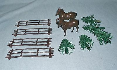 Horse Cake Topper Decorations Rail Fence Pine Trees Cowboy Cowgirl Birthday