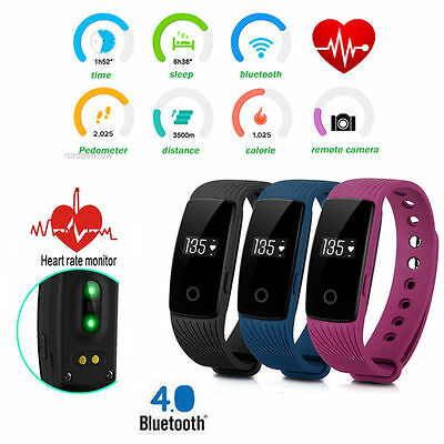 ID107 Smart Watch Wristband Bluetooth OLED Fitness Tracker Heart Rate Monitor UK