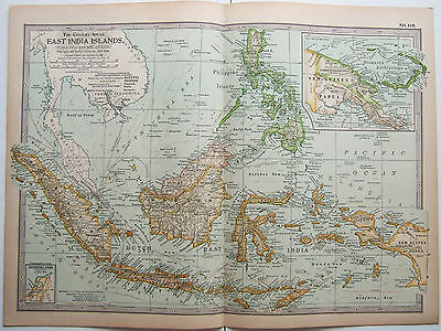 Original 1897 Map of The East India Islands by The Century Comapny
