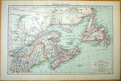 Original 1896 Map of Eastern Canada by Velhagen & Klasing