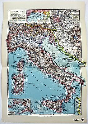 Original 1933 German Map of Italy