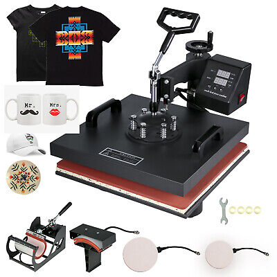 "15""x15"" 5IN1 T-Shirt Heat Press Transfer Kit Multifunctional Digital Swing Away"
