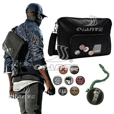 Watch Dogs 2 Marcus Holloway 's Messenger Bag Black Bag with Badges Hanged Ball