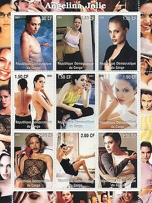Angelina Jolie Hollywood Actress In Poses 2001 Mnh Stamp Sheetlet