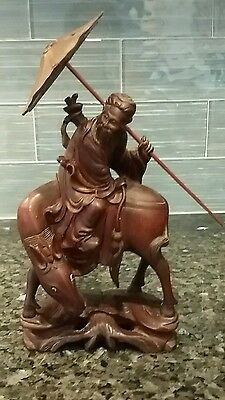 Antique Chinese Carved Figure of Man on Horse Riding Backwards, Box Wood?